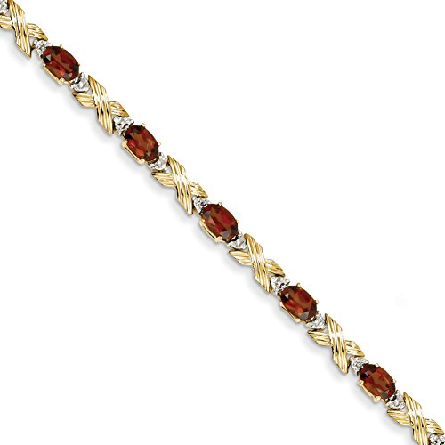 ICE CARATS 14k Yellow Gold Red Garnet Diamond Bracelet 7 Inch Gemstone Fine Jewelry Gift Set For Women Heart by ICE CARATS