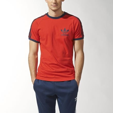 (Adidas Originals T Shirt California Tee Sport Essential 3 Stripe Trefoil Tee Black Red White S-XL New (Red, X-Large))