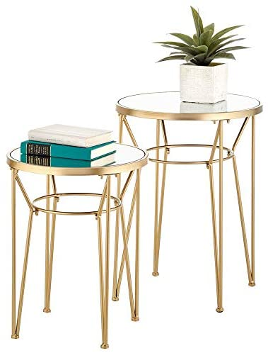 mDesign Round Metal & Mirror in-Lay Accent Table with Hairpin Legs- Side/End Table – Decorative Legs, Mirror Top – Home Decor Accent Furniture for Living Room, Bedroom – 2 Pack – Soft Brass/Mirror