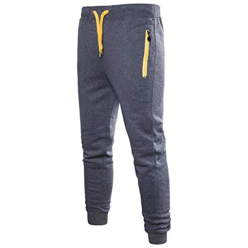 Beach Cabana Lounge - Perman Men's Fashion Slim Fit Sweatpants Elastic Drawstring Waist Solid Overalls Sport Work Trouser Pants with Zipper Pocket(US 10/CN 2XL,Dark Grey)