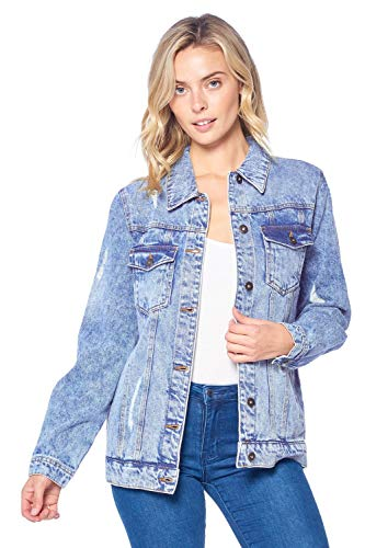 - Blue Age Women's Distressed Jean Jacket Light Denim (JK4016N_LT_M)