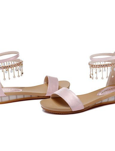 ShangYi Womens Shoes Leatherette Flat Heel Peep Toe / Comfort Sandals Office & Career / Dress / Casual Pink / White Pink