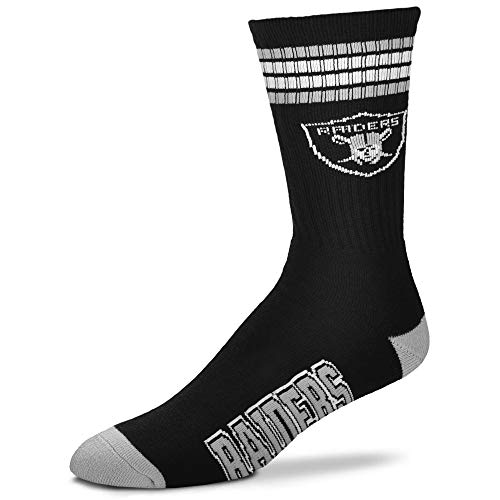 (NFL 4 Stripe Deuce Crew Socks-Oakland Raiders-Large)