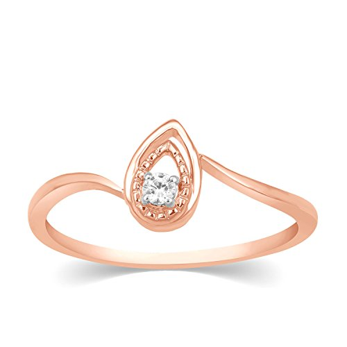 (Round Cut Real Genuine Diamond Solitaire Pear Shape Ring Solid 14k Gold )