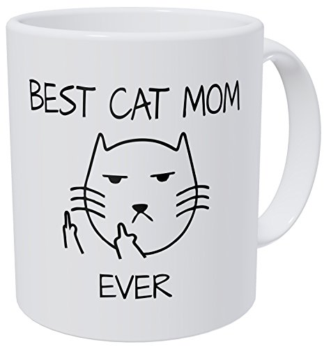 Kaimebien Best Cat Mom Ever Middle Fingers Round Face 11 Ounces Funny Coffee Mug
