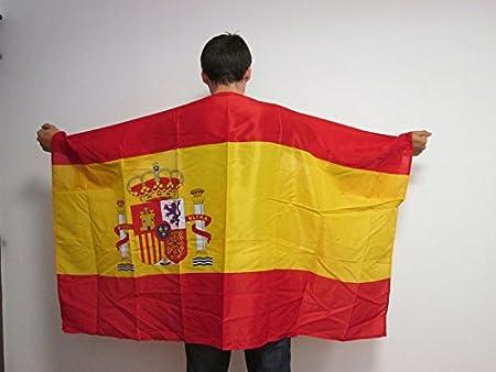 AZ FLAG Bandera de ESPAÑA con Mangas para hinchas - Bandera ESPAÑOLA 90 x 150 cm: Amazon.es: Jardín