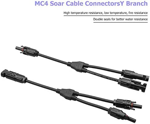 Computer Cables MC4 Y Type 2 Branch 3 Way Solar Panel Cable Connectors IP67 Waterproof Photovoltaic Adapter Splitter Coupler Combiner Cable Prop Cable Length: 3 Sets