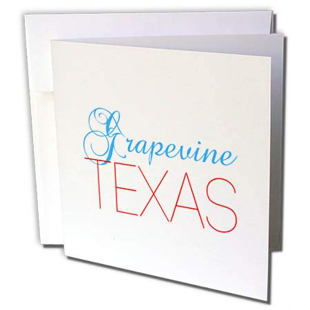 3dRose Alexis Design - American Cities Texas - Grapevine, Texas, red, Blue Text. Patriotic Home Town Design - 6 Greeting Cards with envelopes ()