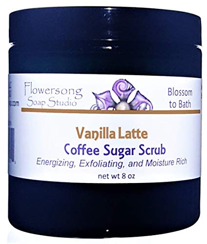 Blossom to Bath Vanilla Latte Coffee Sugar Scrub (8 oz) - Classic Sweetened Vanilla and Coffee - Energizing, Exfoliating, and Moisture Rich