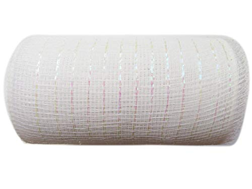 10 inch x 30 feet(10 Yards)-YYCRAFT Metallic Deco Poly Mesh Ribbon(White)