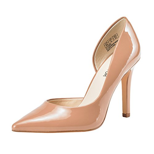 JENN ARDOR Stiletto High Heel Shoes for Women: Pointed, Closed Toe Classic Slip On Dress Pumps-Nude 8.5 B(M) US