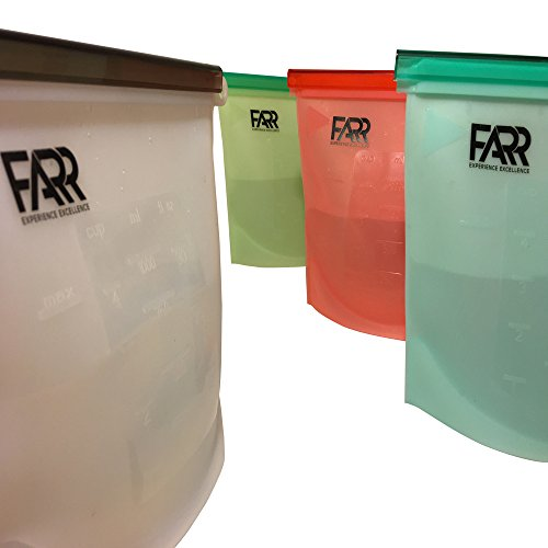 Reusable Silicone Food Bags Pack of 4 - Keep Food Fresh and Easily Store. by FARR (Dish Clear Fresh Liquid Spring)