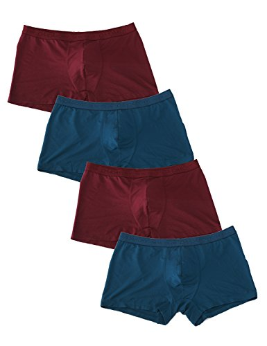 David Archy Men's 4 Pack Low Rise Micro Modal Plus Trunks(XL, Wine+Peacock)