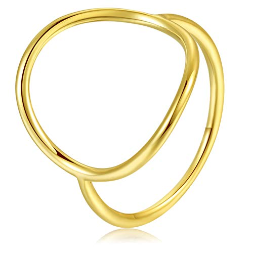 - Lemon Grass Gold Vermeil Open Circle Ring in Sterling Silver Size 8