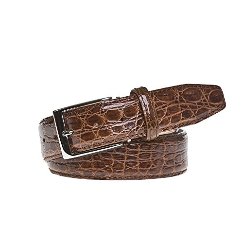 Cognac Crocodile Leather Belt by Roger Ximenez: Bespoke Maker of Fine Leather Goods