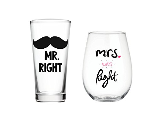 Mr Right & Mrs Always Right Pint & 22 oz Wine glass Set of 2, Gift for Wedding Married Couple, for Engagement Gifts, anniversary gift Christmas Gift …
