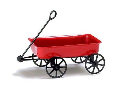 Red Ladybug House - Mini Dollhouse FAIRY GARDEN Accessories - Little Red Wagon - My Garden Miniatures