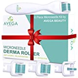 Derma Roller Kit for Face & Body: 0.25mm Length, Professional Grade Microneedle Roller Dermaplaning Tool - Microneedling Facial Roller Includes FOUR Replacement Heads - 600 Titanium Micro Needles