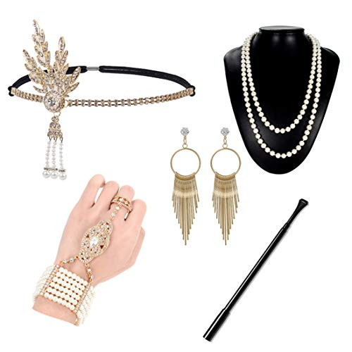 (1920s Flapper Accessories Gatsby Costume Set 20s Headband Gloves Cigar Holder Necklace for Women Prom)