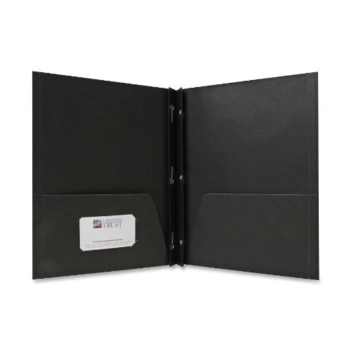 (Sparco 2-Pocket Folders, with Fasteners, 1/2-Inch Capacity, Letter, 25 per Box, Black (SPR71441))