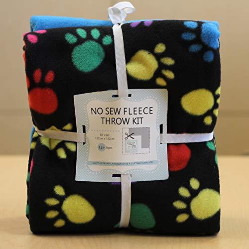 Rainbow Paws No-Sew Throw Fleece Fabric Kit (72x60)