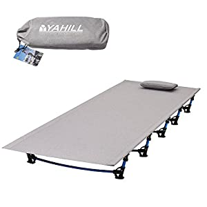 YAHILL Ultralight Folding Camping Cot Sleeping Collapsible Portable Foldable Bed Aluminum Replacements for Tent Backpack…