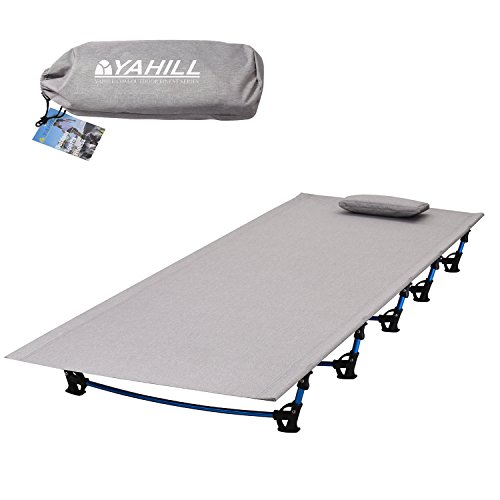 Yahill Ultralight Folding Camping Cot Sleeping Portable Backpack Tent Bed Replacements Aluminium Alloy for Indoor Furniture Outdoor Travel Hiking Fishing Hunting (Extended Vision/Grey) (Portable Outdoor Furniture)
