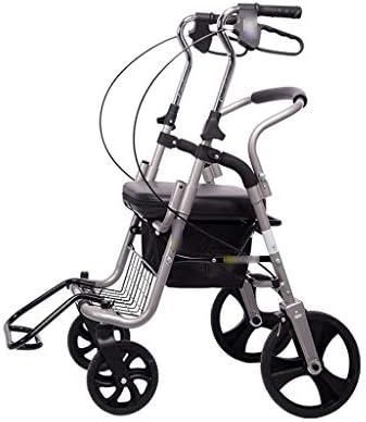 カート・ワゴン ウォーカーオールドカート四輪老人ショッピングカートスクーター折りたたみは食べ物を買うために乗ることができます折りたたみ車椅子に座ることができます (Color : Gray, Size : 54*65*86-96cm)