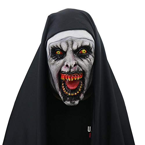 Mask halloween horror scared female ghost face Tricky party supplies]()