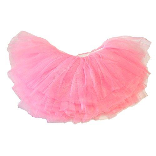 [My Lello Little Girls 10-Layer Short Ballet Tulle Tutu Skirt (4 mo. - 3T) -Bubblegum Pink] (Tutu For Toddler)