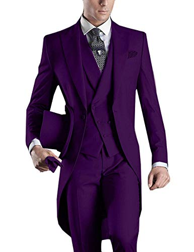 3 Piece Suits Tuxedo for Mens Special Occasion Purple Christmas Costume New Year Suit with Tails