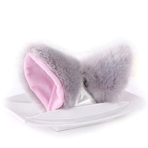 - Cat Fox Ears Long Fur Hair Headband Cosplay Party Costume Gray