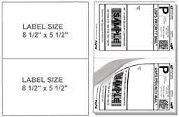 200 Half Sheet Shipping Labels, (2) - 8 1/2 X 5 1/2 Labels Per Sheet. Will Work in Both Laser and Inkjet Printers. Made of Heavyweight Material with Super Adhesive Sticker. For Use with Internet Postage Sites like Ebay, Paypal, Stamps.com