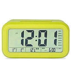 BBZXLL Intelligent Electronic Alarm Clock, Led Luminous Backlight Lazy Mute No Radiation Automatic Sensation Alarm Clock Large Digital Display with Temperature,Yellow