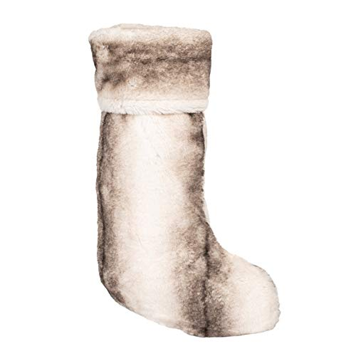 Luxe Fuzzy Grey 7 x 18 Inch Faux Fur Decorative Stocking