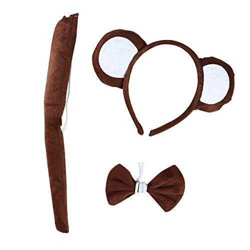 LUOEM 3 Pack Kids Costume Makeup Bow Tie Ear Headband Tail for Cosplay Party (Brown)
