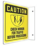 8''Hx8''W L-Shape Black/Yellow Plastic CAUTION CHECK MIRROR FOR TRAFFIC BEFORE PROCEEDING Traffic 90D Projection™ Sign
