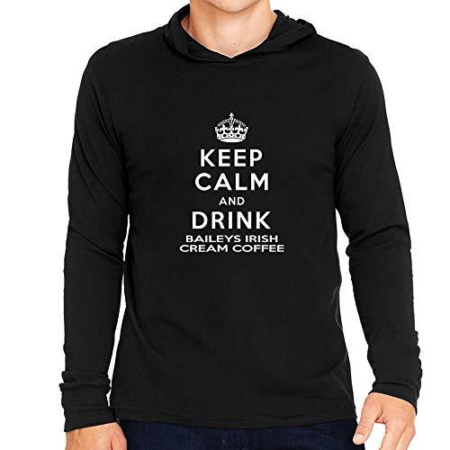 Idakoos Keep Calm and Drink Baileys Irish Cream Coffee Hooded Long Sleeve T-Shirt L