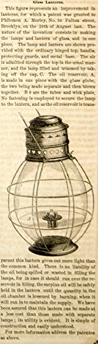 1854 Wood Engraving Antique Lass Oil Lantern Philemon A. Morley Invention YSA2 - Original In-Text Wood - Glasses In Lasses
