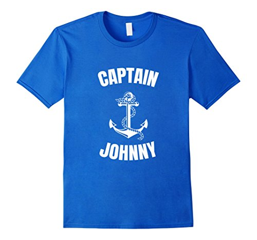 Last Minute Sailor Costume (Mens Captain Johnny T-Shirt Personalized Boat Captain Shirt Medium Royal Blue)