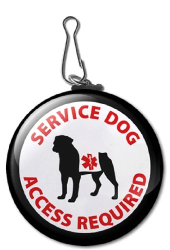 Black SERVICE DOG ACCESS REQUIRED Medical Alert Symbol 2.25 inch Clip Tag