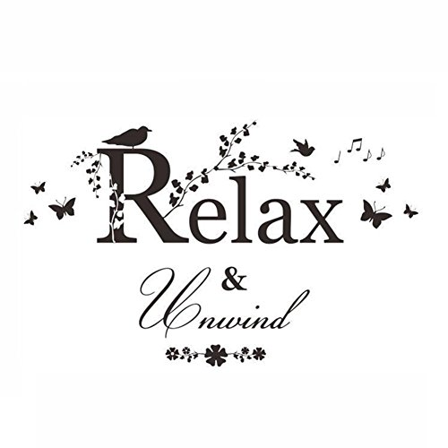 Removeable Vinyl Stickers - Vktech Relax Quote Removeable Glass Wall Sticker DIY Vinyl Art Paper for Kitchen Living Room Home Background Decal 18 x 22inch