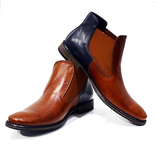 Slip Chelsea Menns Lær Castello Glatt Peppeshoes Città Di on Kuskinn Håndlaget Boots Modello Ankel Italiensk Brun qxB6wa