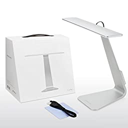 Juzi Dimmable LED Desk Lamp - 28 LED Light 3 Level Touch-Sensitive Control Panel, 5V/1A USB Charging Port