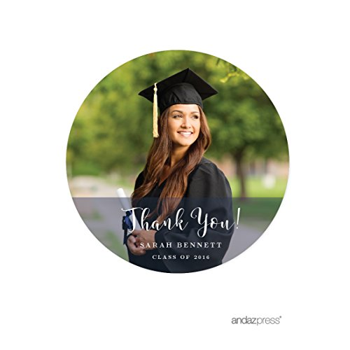 Andaz Press Photo Personalized Storybook Graduation Collection, Round Circle Gift Thank You Label Stickers, 40-Pack, Custom Image