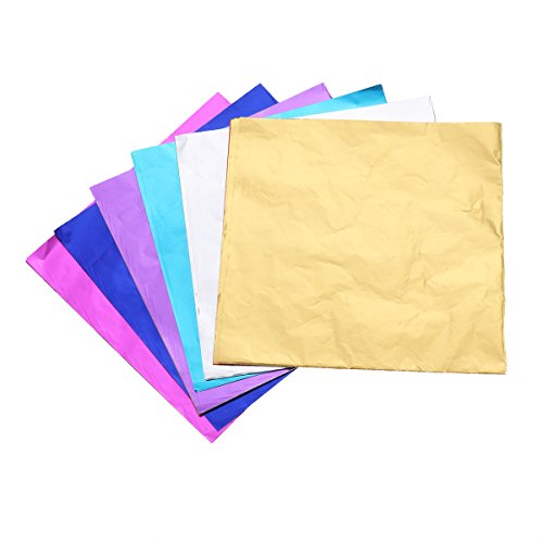 BESTONZON 200pcs Metallic Foil Paper Sheet Gift Package Wrapping Paper for Packaging Chocolate Candy