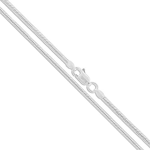 Solid Flexible Herringbone Chain - Verona Jewelers Sterling Silver 2MM, 2.5MM, 3MM, 4MM, 5MM Solid Round Snake Chain Necklace- Flexible Snake Chain Necklace, Round 925 Sterling Silver Necklace (26, 2MM)