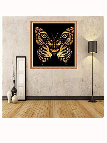 (narutosak Modern Art Tiger Face Butterfly Shaped Partial Drill DIY Resin Diamond Painting -)