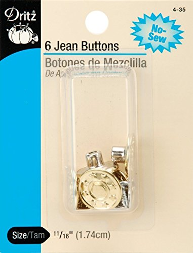 11/16 (1.74cm) Dritz Jean Buttons Heavy Duty Replacement 6 Pack Gold No Sew by Energi8_fab