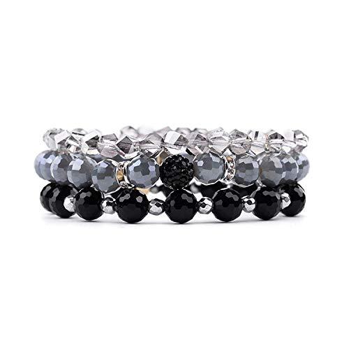 AMBER DAVIDSON 3 Pcs/Amulticolor Crystal Bead Bracelets for Women Elastic Blue Green Brown Black Gray Crystal ()